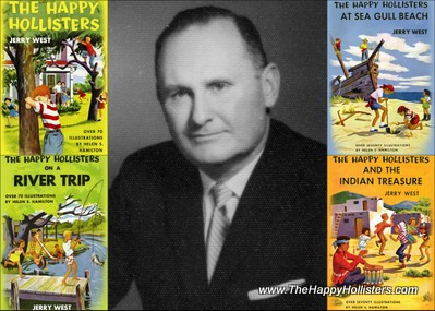 Author Andrew Svenson with the first 4 books in The Happy Hollisters series; copyrighted August 3, 1953