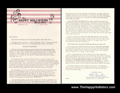 1962 Joining Offer for The Happy Hollisters Book Club