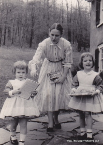 Helen S. Hamilton with daughters Faith and Kate, 1957